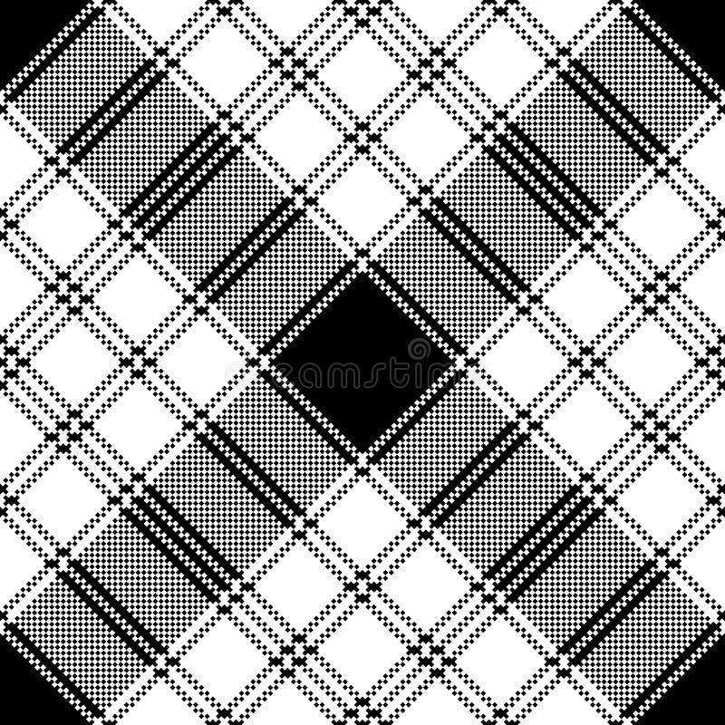 Modell f?r monokrom pl?d f?r PIXEL s?ml?s vektor illustrationer