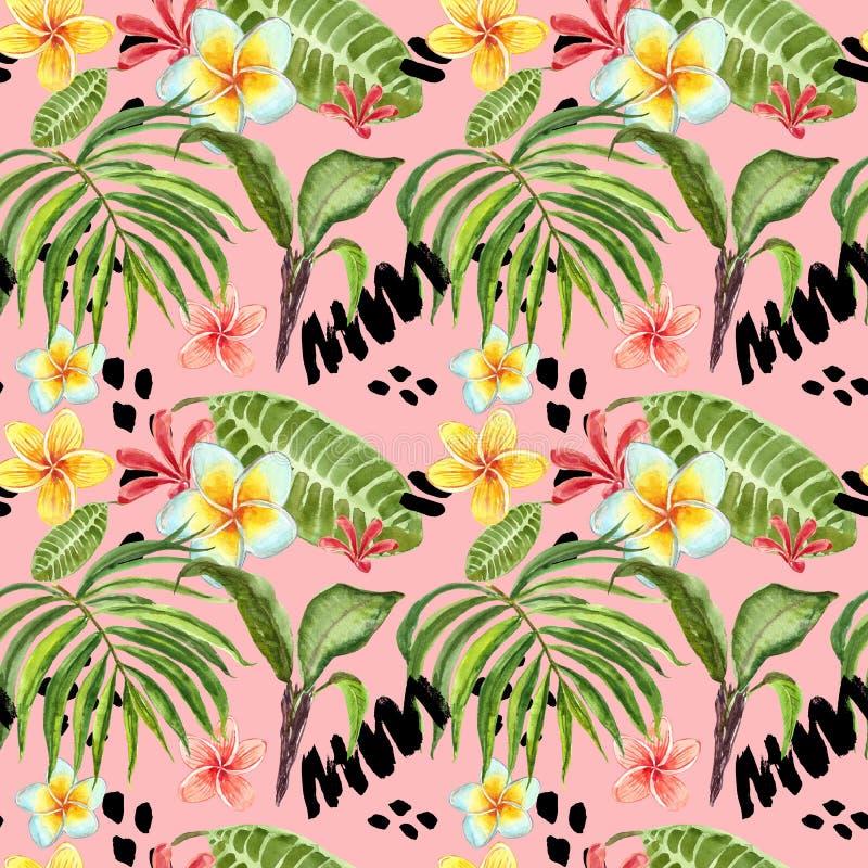 Modell f?r tropiska sidor f?r vattenf?rg s?ml?s Handen m?lade palmbladet, exotiska plumeriablommor och gr?n l?vverk p? ljusa rosa royaltyfri illustrationer