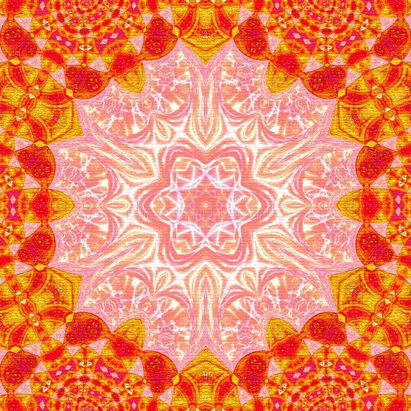 Modell i färgrik dekorativ bakgrund för orientalisk stil med mandalaramen vektor illustrationer