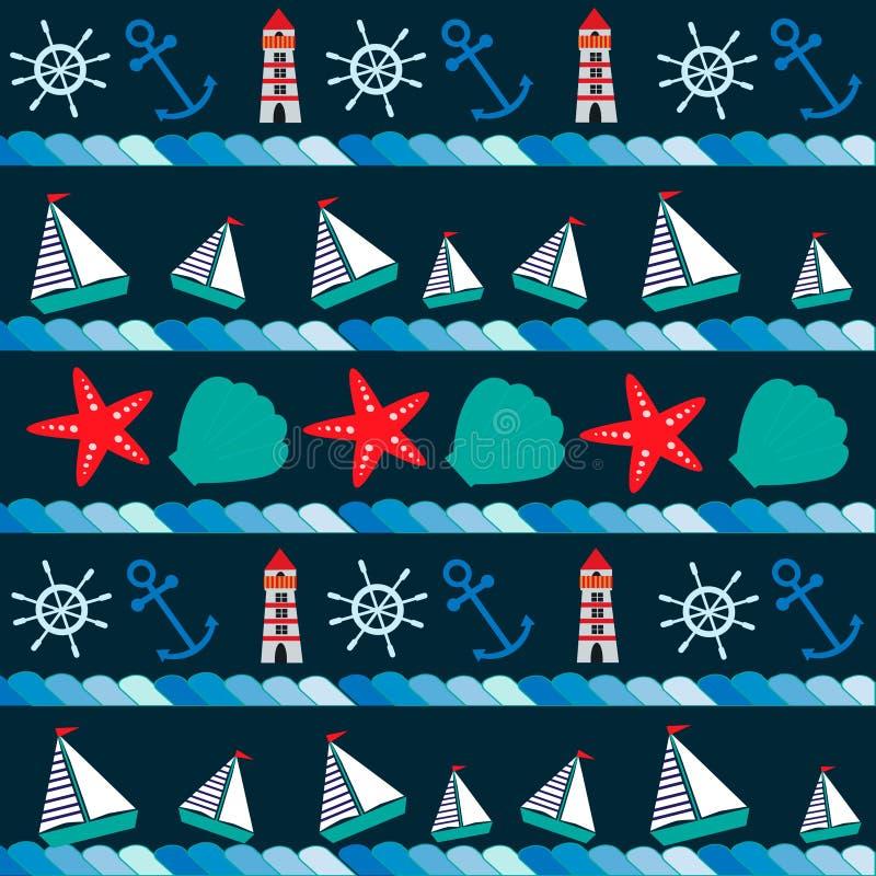 Modell i marin- stil med skepp, ankaret, skal och annat royaltyfri illustrationer