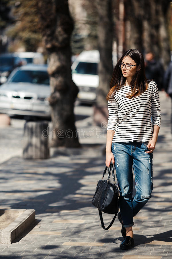 Modell i mitt av staden royaltyfri foto