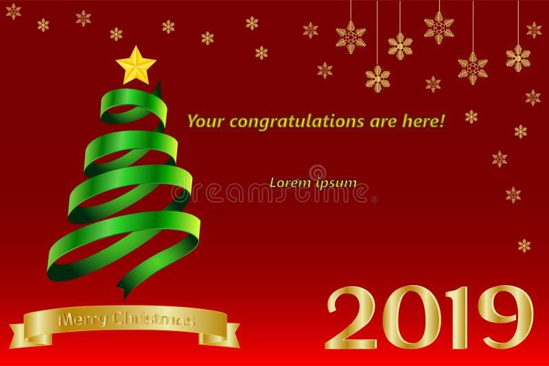 Modell, mall för baner, hälsningskort med nytt år och jul, med inskriften 2019 och den guld- rosen stock illustrationer