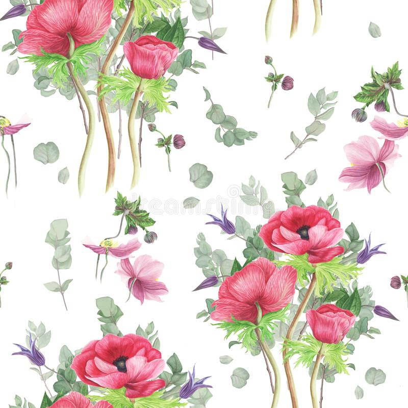 Modell med blommor: rosa anemoner, klematis och filialeukalyptus, vattenfärgmålning stock illustrationer