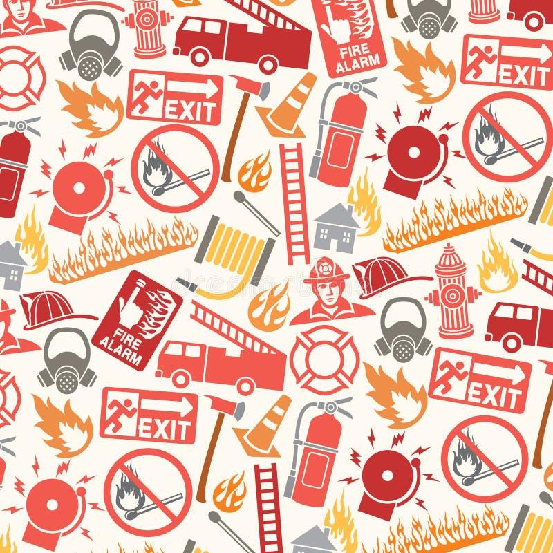 Modell med brandmansymboler och symboler royaltyfri illustrationer