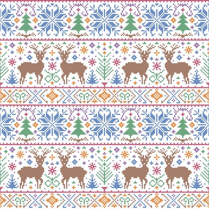 Modell med deers, träd och snöflingor arkivfoton