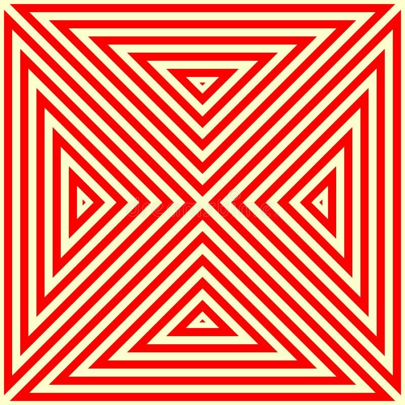 Modell med den symmetriska geometriska prydnaden Randig röd vitabstrakt begreppbakgrund Abstrakt begrepp upprepade triangeltapete vektor illustrationer