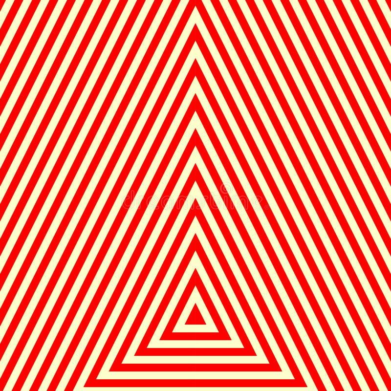 Modell med den symmetriska geometriska prydnaden Randig röd vitabstrakt begreppbakgrund Abstrakt begrepp upprepade triangeltapete stock illustrationer