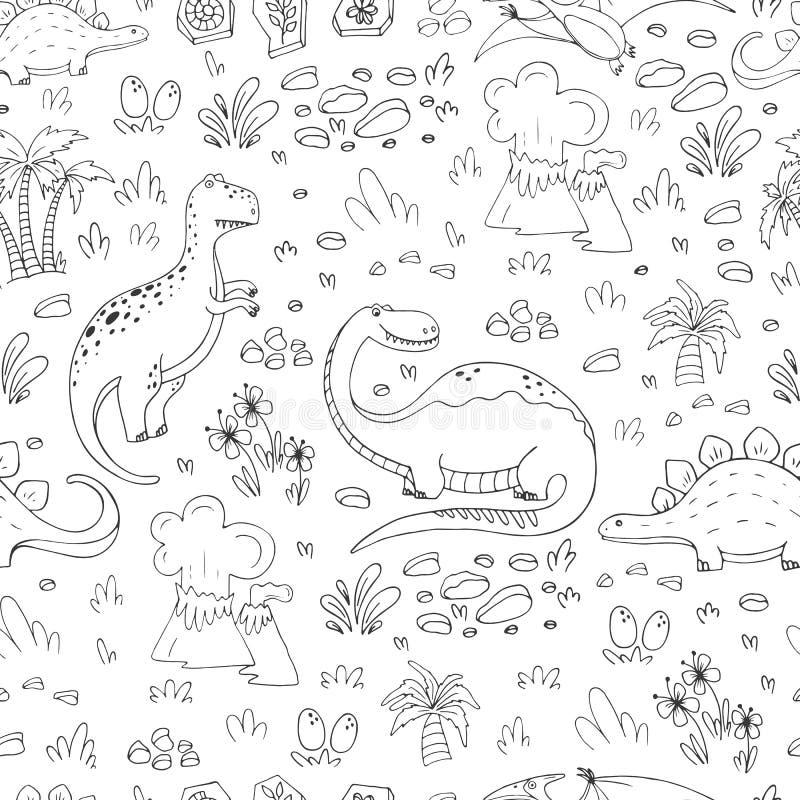 Modell med dinosaurier vektor illustrationer