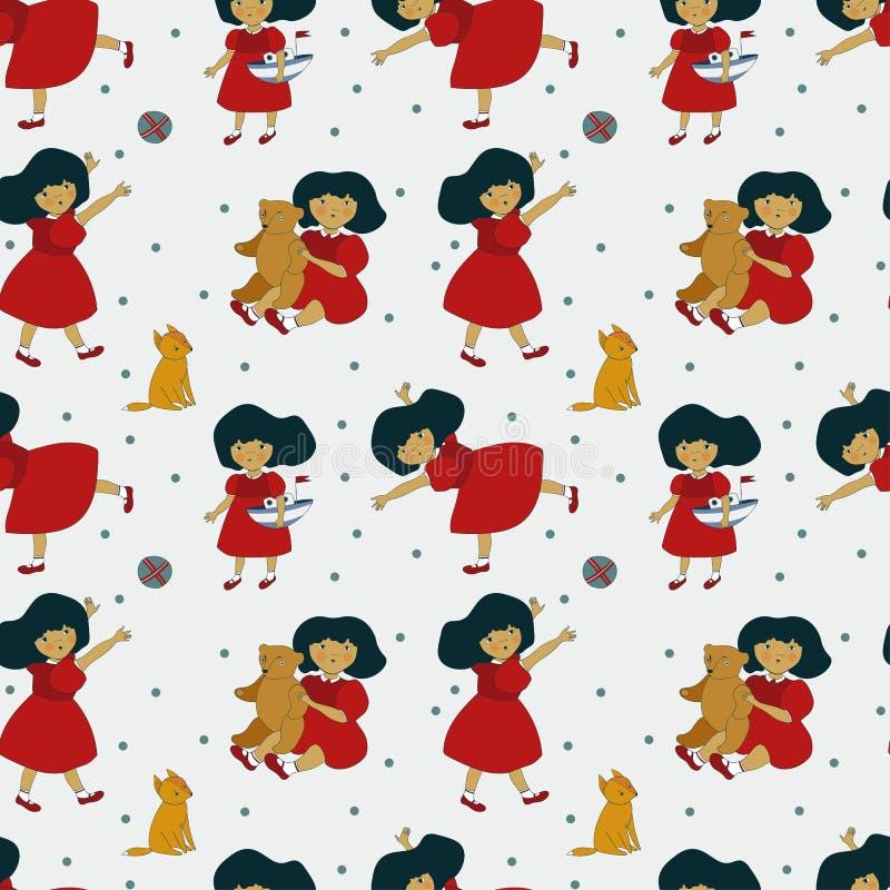 Modell med en härlig liten flicka och hennes leksaker, björnar, rävar vektor illustrationer