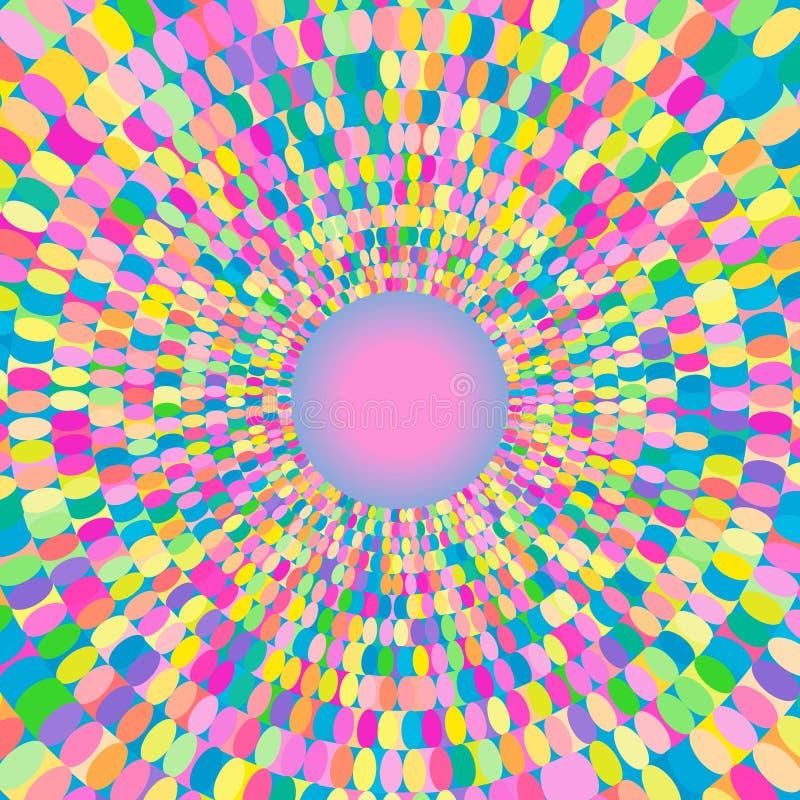 Modell med färgrika cirklar Ljus prydnad för abstrakt för vektor modell för op konst Optisk illusiontextur Modernt stilfullt virv stock illustrationer