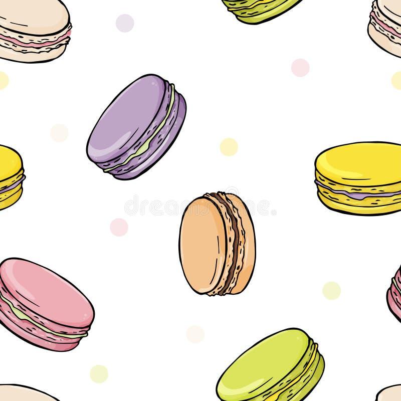 Modell med färgrika makron Stilfulla färgrika efterrätter på vit bakgrund vektor illustrationer