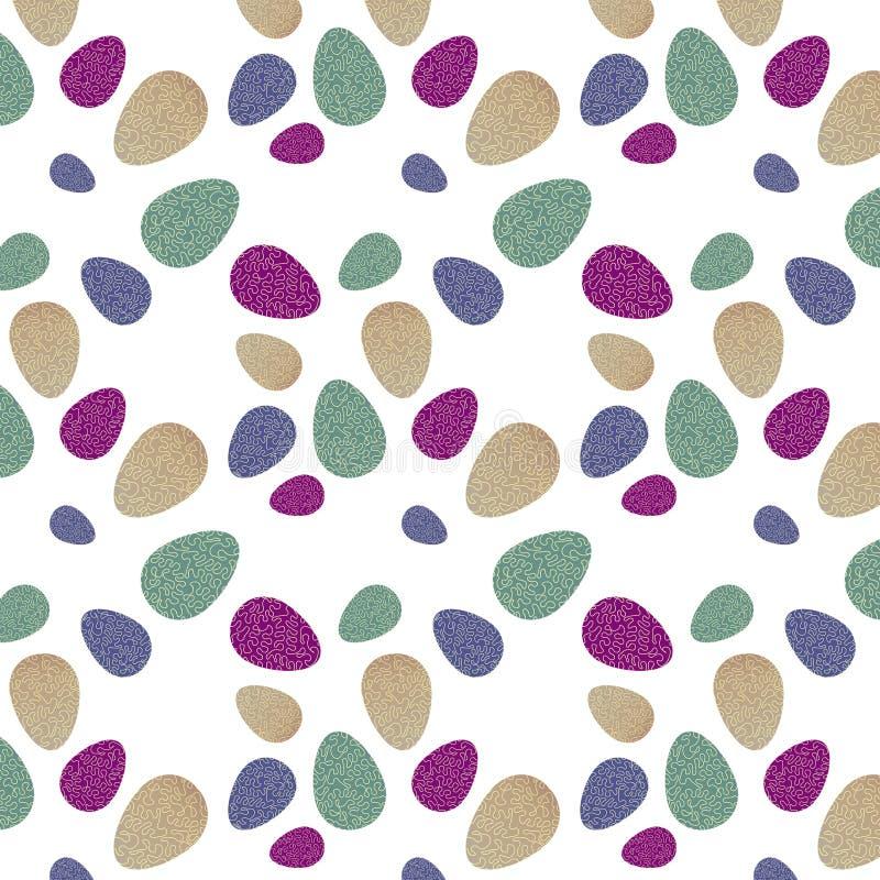 Modell med färgrika påskägg med grön, violett, purpurfärgad och beige bakgrund, krabb gul linje royaltyfri foto