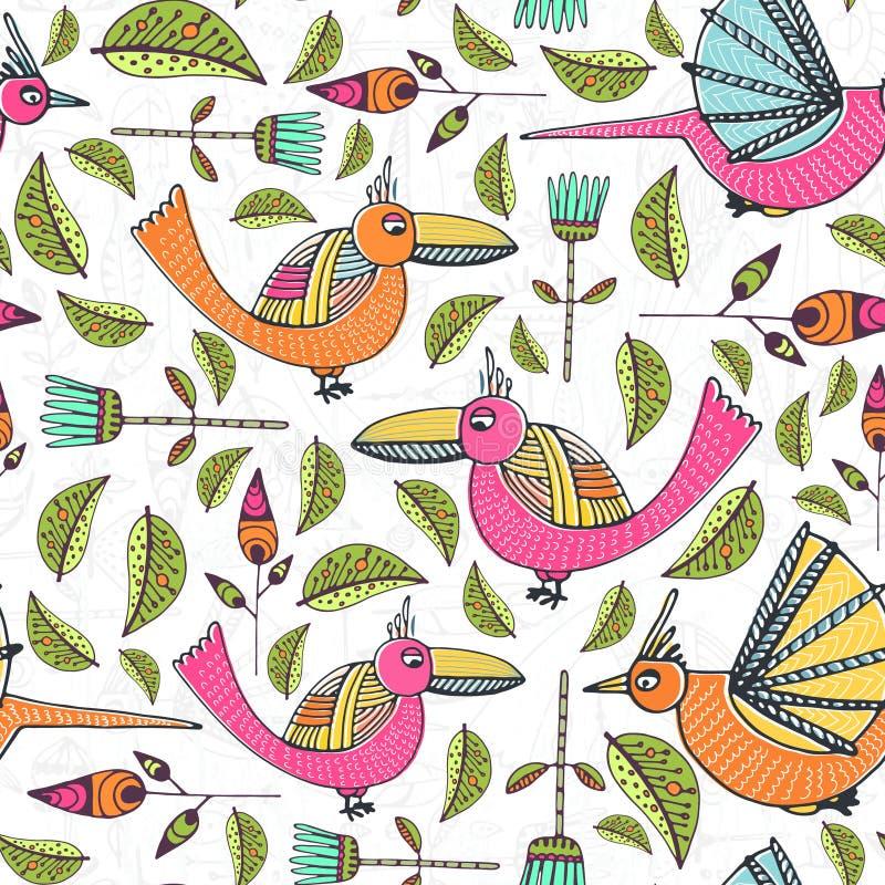 Modell med fåglar royaltyfri illustrationer