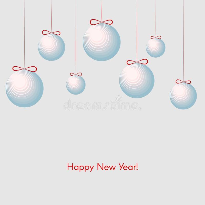 Modell med festliga bollar med bakgrund för vinter för lyckligt nytt år för text för nytt år och jul stock illustrationer