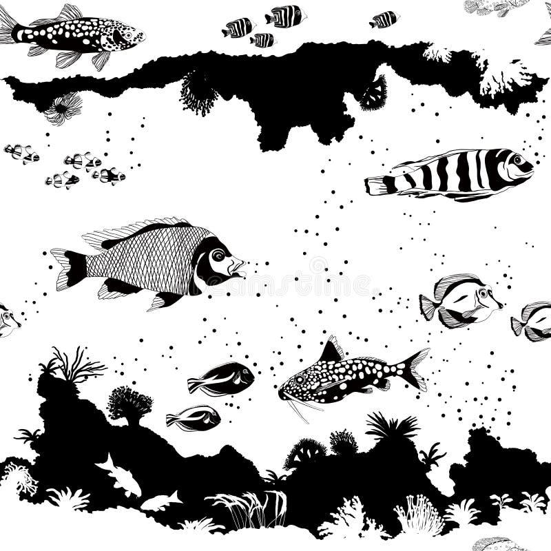 Modell med fisken och undervattens- konturer stock illustrationer
