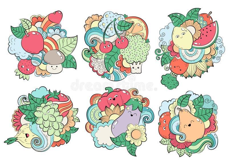 Modell med frukter, grönsaker och bär Mall för att förpacka, vykort, rengöringsdukdesign Utskrift på textiler brigham stock illustrationer