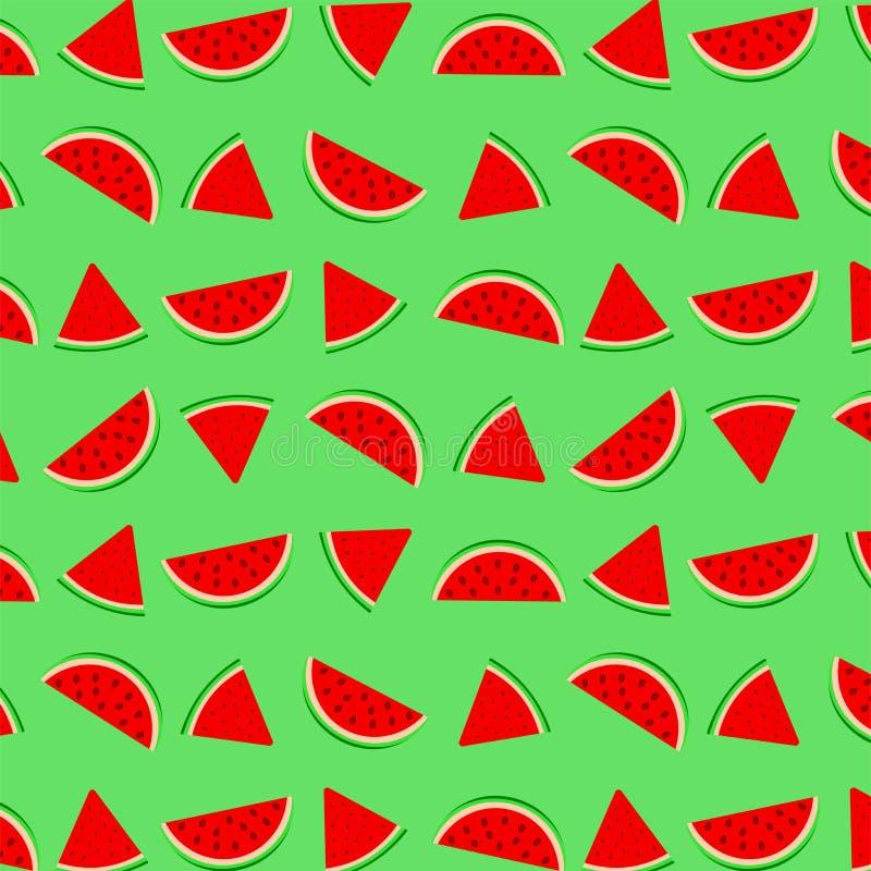 Modell med grön bakgrund för vattenmelonskivor vektor illustrationer