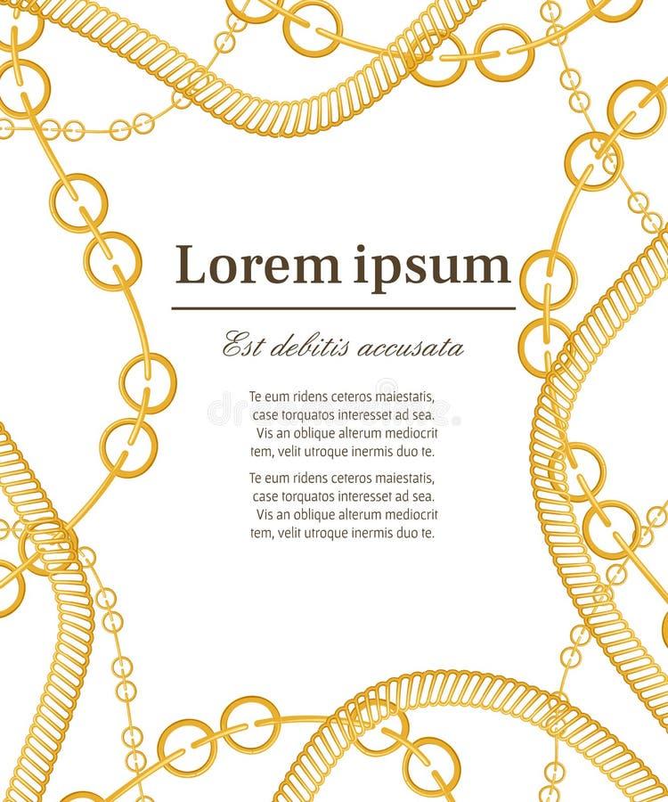 Modell med guld- kedjor placera text Olika typer av kedjor, lyxig garnering Begrepp f royaltyfri illustrationer