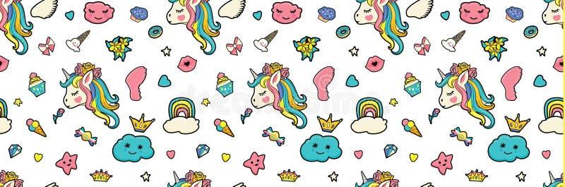 Modell med gulliga framsidor av enhörningar, glass, stjärnor, hjärtor, munk, regnbåge, kronor, muffin vektor illustrationer