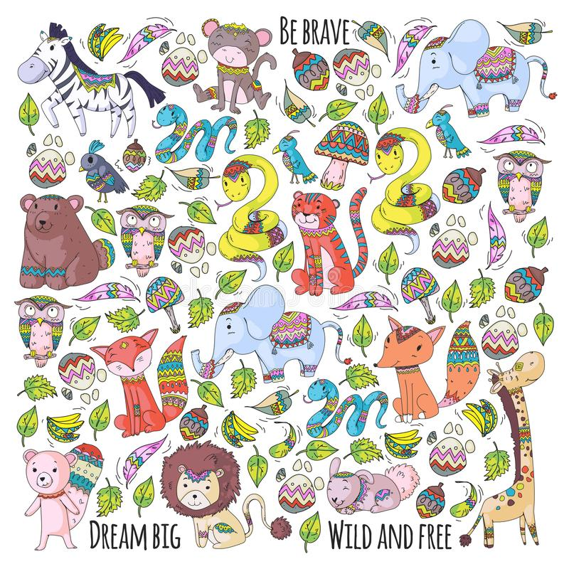 Modell med gulliga skog- och djungeldjur Räv tiger, lejon, sebra, björn, fågel, papegoja, orm, ekorre, elefant vektor illustrationer