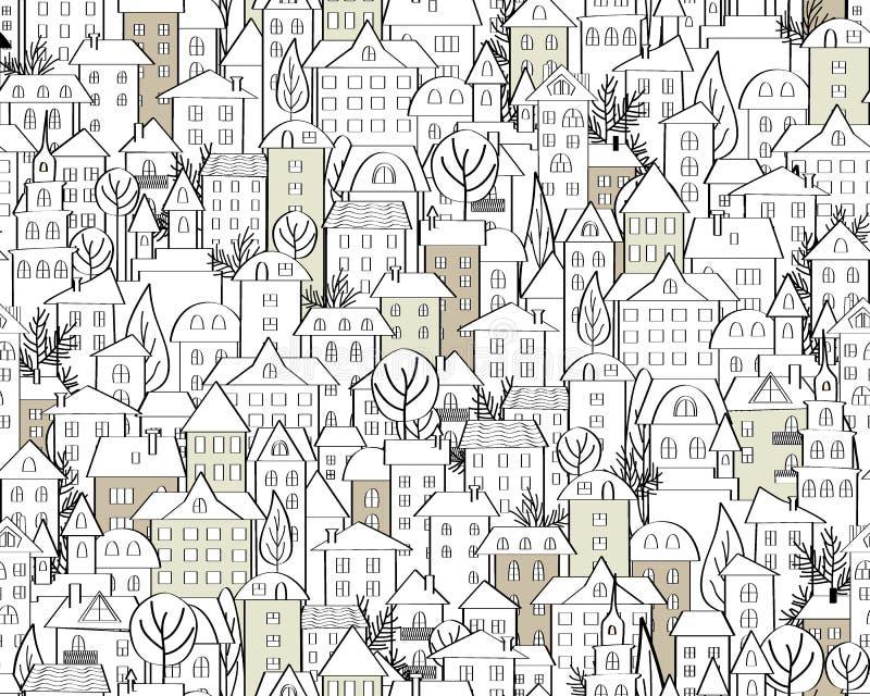 Modell med hand drog klotterhus Illustration med gulliga stadtak och träd Sömlös bakgrund i svartvitt vektor vektor illustrationer