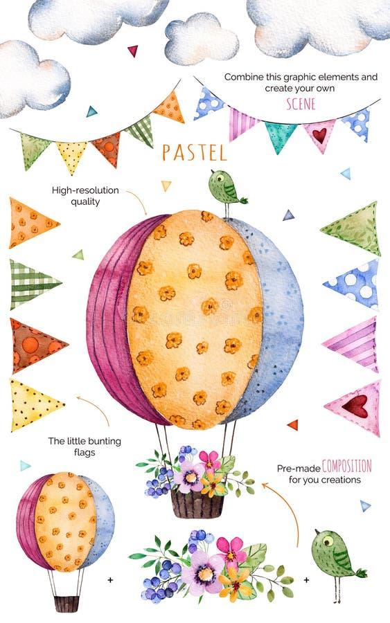 Modell med individuella beståndsdelar för dina egna design: blommor bunting flaggor, luftballon, buketter, girlander, band, vektor illustrationer