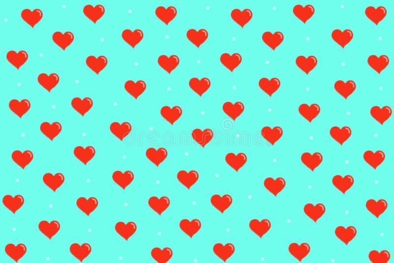 Modell med röda hjärtor på blå bakgrund arkivbilder