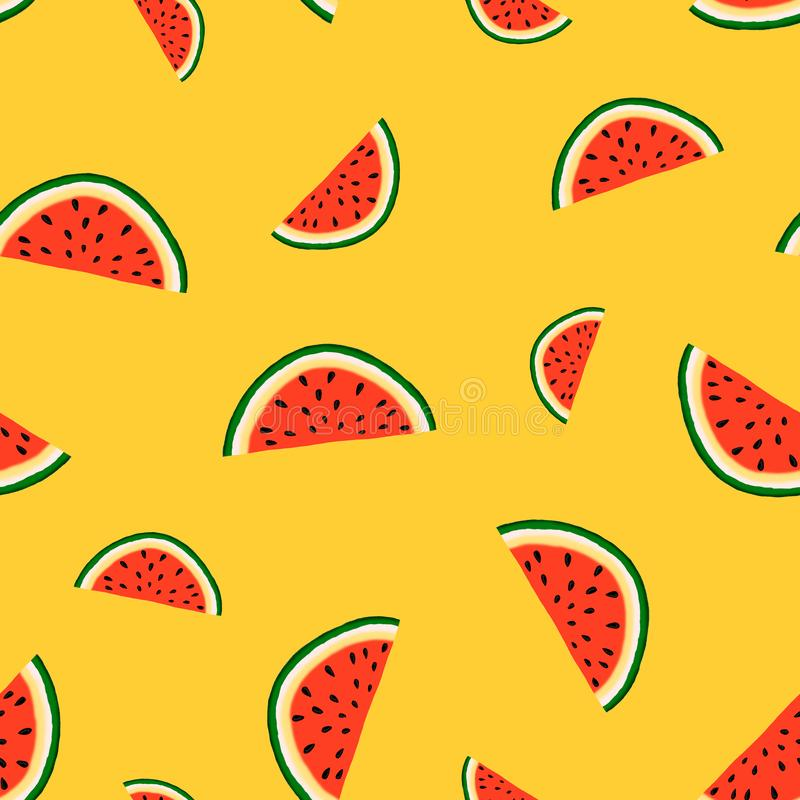 Modell med skivor av vattenmelon av olika format på en gul bakgrund royaltyfri illustrationer