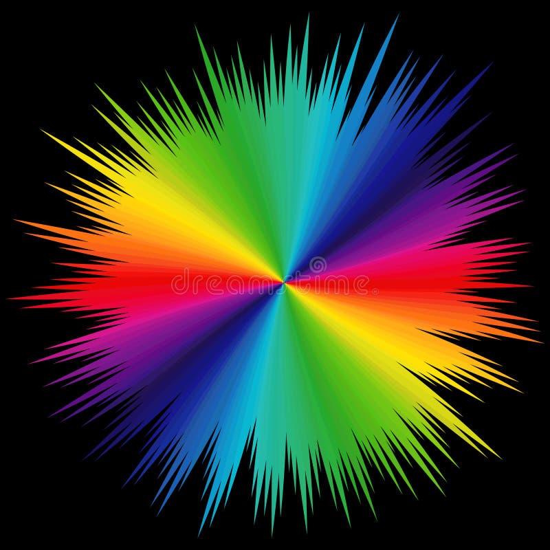 Modell med spektrumfärger över svart royaltyfri illustrationer
