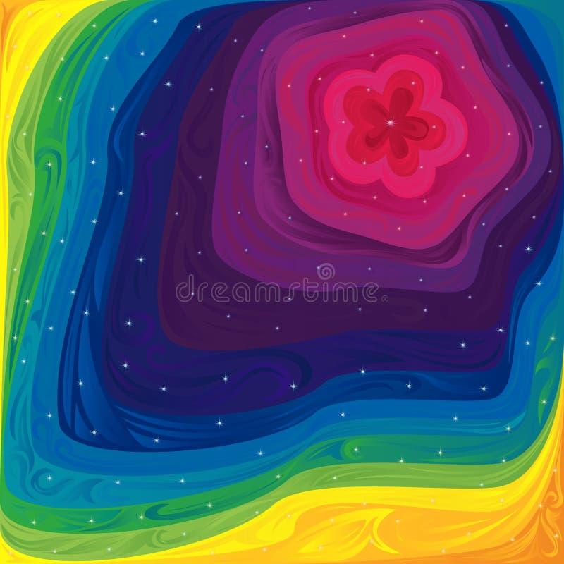 Modell med spektrumfärger och små stjärnor stock illustrationer
