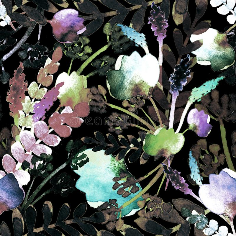 Modell med svarta blommor och filialer vektor illustrationer