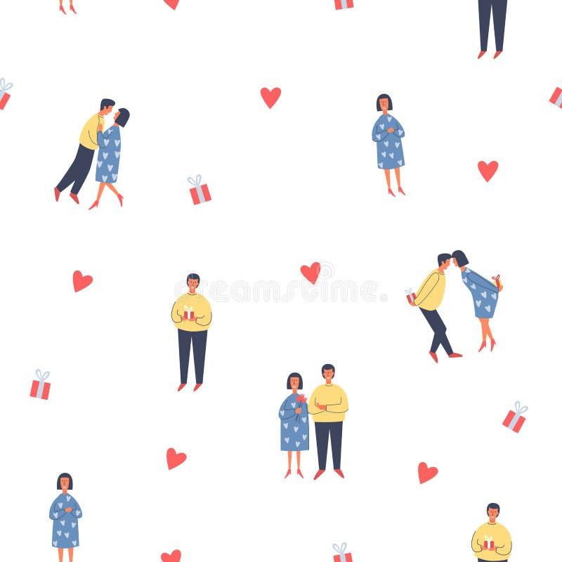 Modell med tecken, hjärtor och gåvor för ferievalentin dag vektor illustrationer