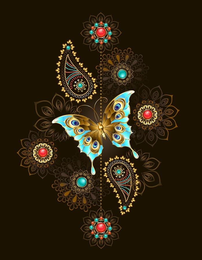 Modell med turkosfjärilen på brun bakgrund royaltyfri illustrationer