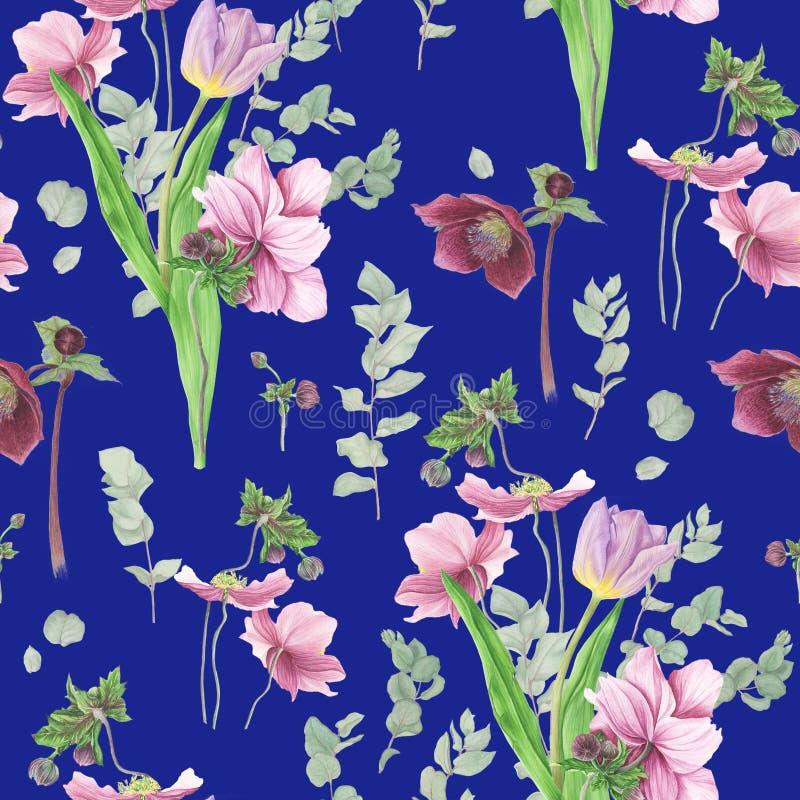 Modell med vårblommor, vattenfärgmålning royaltyfri illustrationer