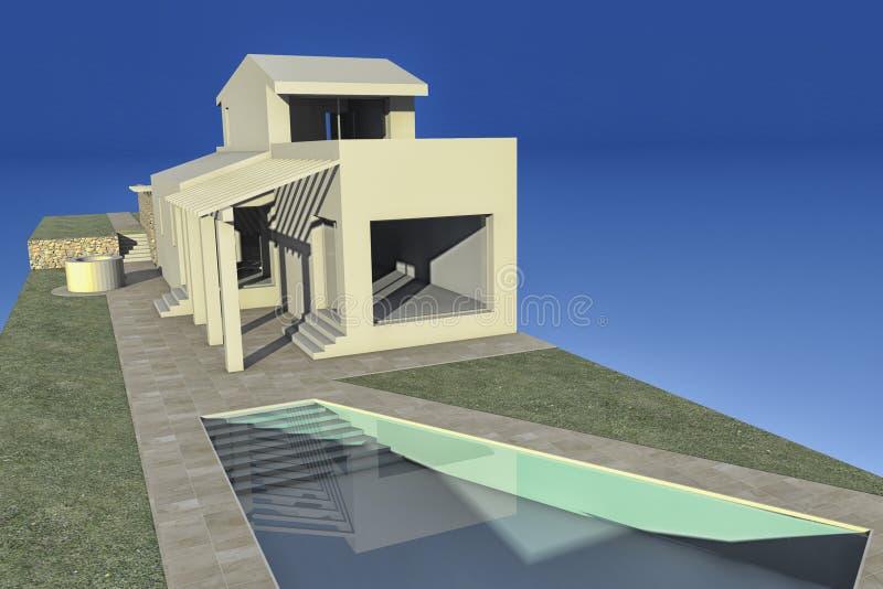 Modell mit drei Maßen eines Projektes stock abbildung