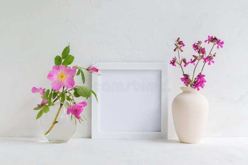 Modell mit einem wei?en Rahmen und rosa Hagebutteblumen stockbilder