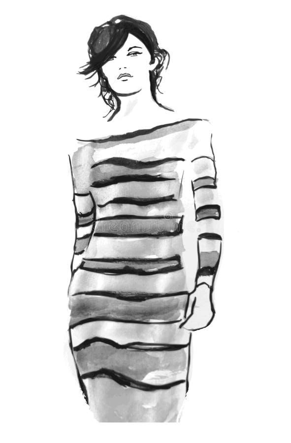Modell på catwalk vektor illustrationer