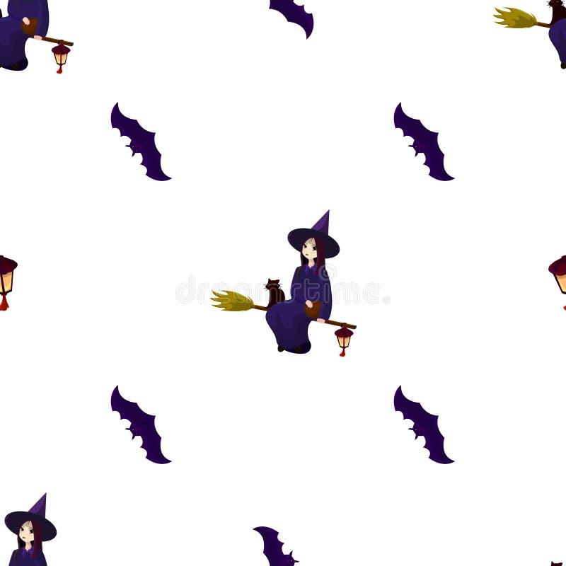 Modell på ett tema av en halloween med älskvärda häxor, trollkarlar vektor illustrationer