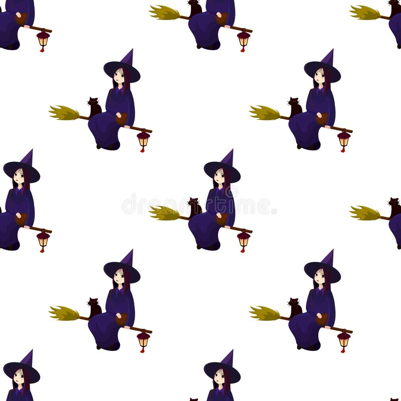 Modell på ett tema av en halloween med älskvärda häxor, trollkarlar royaltyfri illustrationer