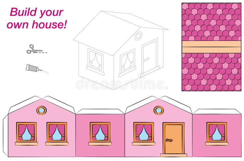 Modell Pink för husmallpapper vektor illustrationer