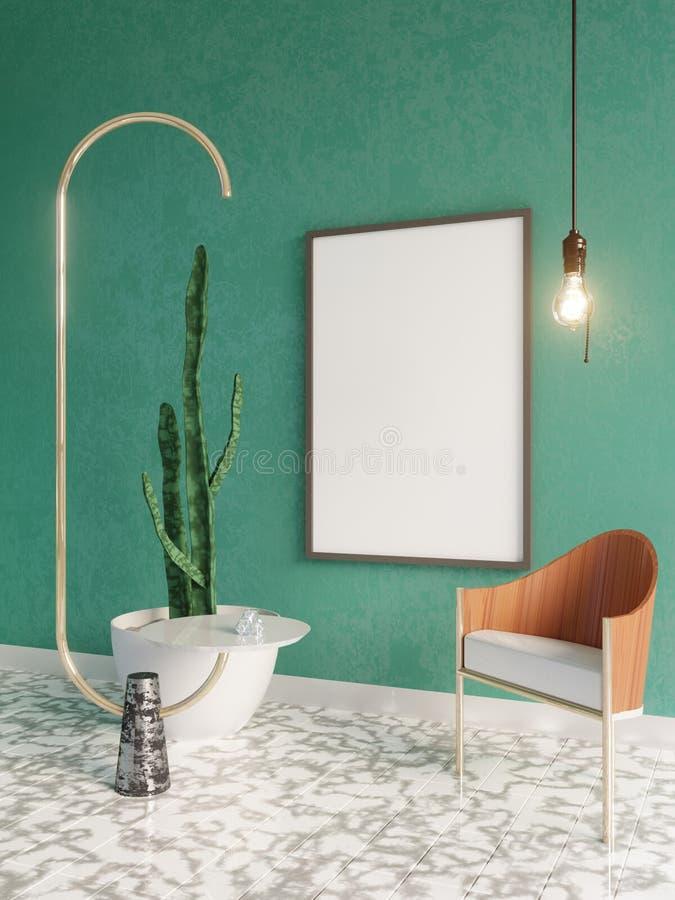 Modell-Plakat im Art- DecoArtinnenraum 3d übertragen Abbildung 3D lizenzfreie abbildung