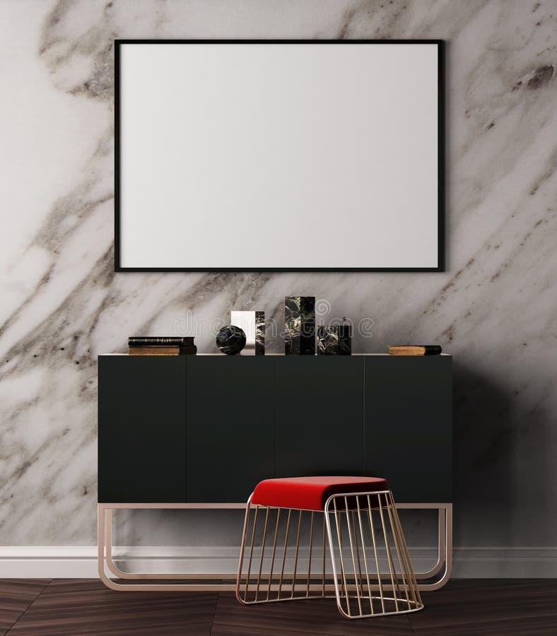 Modell-Plakat im Art- DecoArtinnenraum Plakat auf dem Hintergrund einer Marmorwand Abbildung 3D Wiedergabe 3d vektor abbildung
