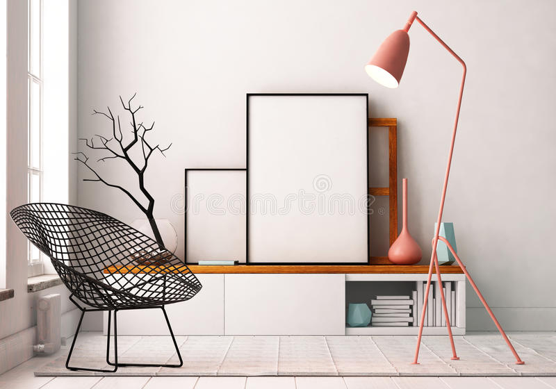 Modell-Plakat im Innenraum Leben in einem Dachboden stock abbildung