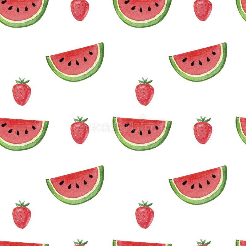 Modell, sömlös bakgrund, vattenmelon för utdragen vattenfärg för hand saftig och röd jordgubbe på vit bakgrund arkivfoto