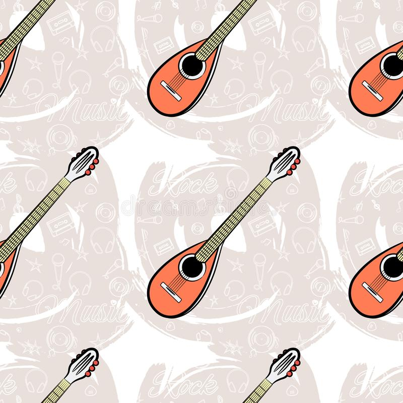 Modell sömlös Guitar-04 royaltyfri illustrationer
