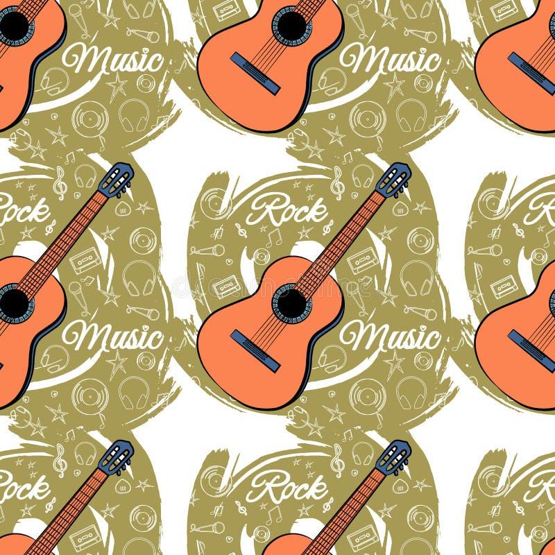 Modell sömlös Guitar-03 stock illustrationer