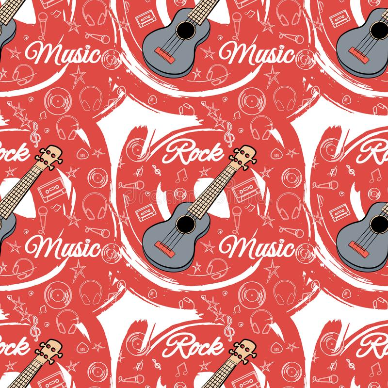 Modell sömlös Guitar-02 stock illustrationer