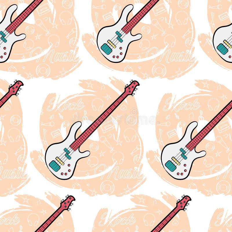 Modell sömlös Guitar-01 stock illustrationer