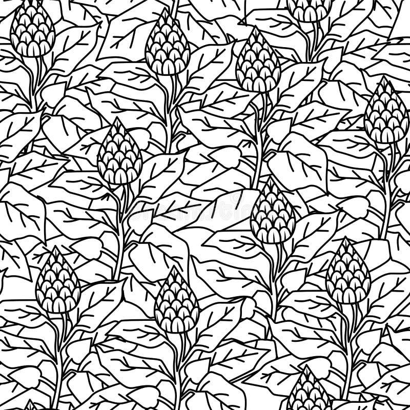 Modell som är svartvit med lövverk och blommor vektor illustrationer