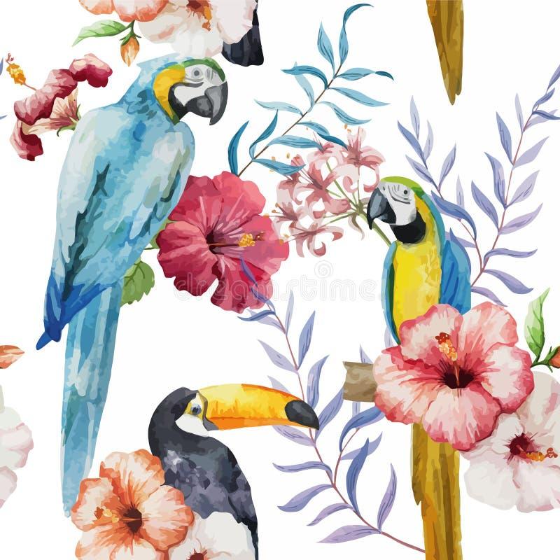 Modell som är tropisk, vattenfärg vektor illustrationer